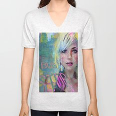 bus stop girl  Unisex V-Neck