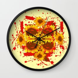 CAUTION: DANGEROUS SUNFLOWERS YELLOW-RED ART Wall Clock
