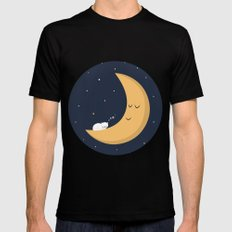The Cat and the Moon Mens Fitted Tee Black MEDIUM