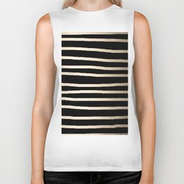 Simply Drawn Stripes White Gold Sands on Midnight Black Biker Tank