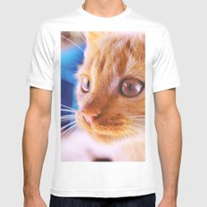 Orange cat Mens Fitted Tee MEDIUM White