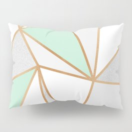 Mint Green, Grey & Gold Geo Pillow Sham