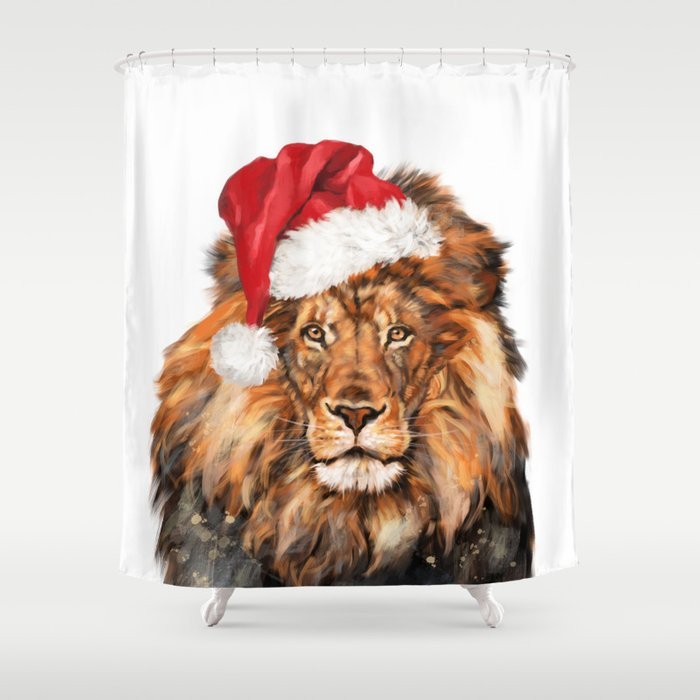 Christmas Lion Shower Curtain