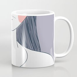 Women are crying painting in pink surface.Eye Tears Vector Icon.One beautiful brown color caucasian Coffee Mug