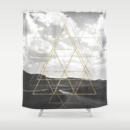 Gold Glitter Sacred Geometry Shower Curtain