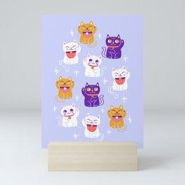 Lucky Waving Kitty Cat Maneki Neko Mini Art Print
