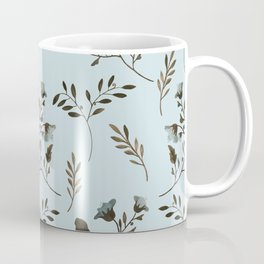 Pale Blue Bluebells and Bluebirds Floral Pattern Flowers in Blue and Bark Brown Coffee Mug