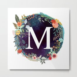 Personalized Monogram Initial Letter M Floral Wreath Artwork Metal Print