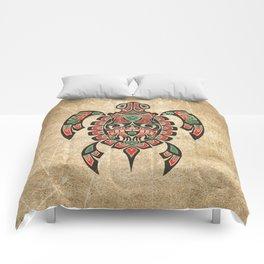 Vintage Red and Green Haida Spirit Sea Turtle Comforters