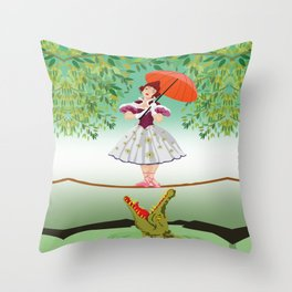 The Umbella girl With crocodile Throw Pillow