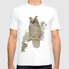 Vintage Owl MEDIUM Mens Fitted Tee White