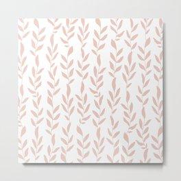 Blush Pink Minimalist Leaves Pattern Metal Print