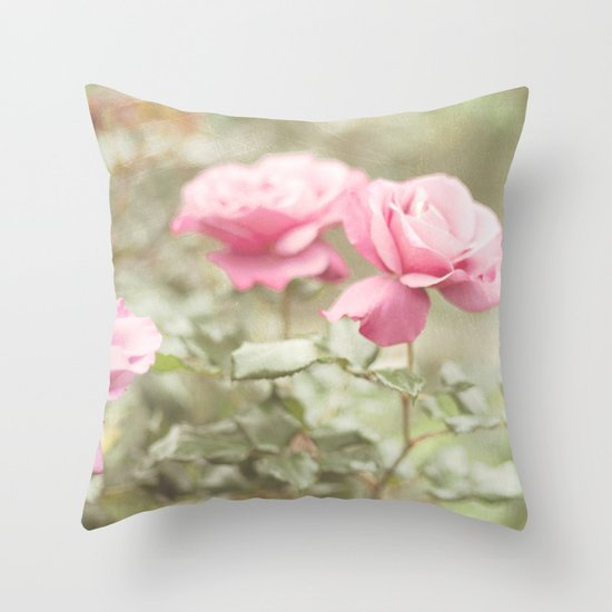Textured and Pastel roses (vintage flower photography) Throw Pillow