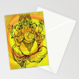 Lord Ganesha on Yellow Spiral Stationery Cards