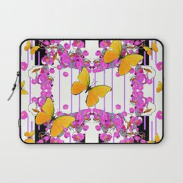 White Color Yellow Butterflies & Pink Flowers Black Laptop Sleeve