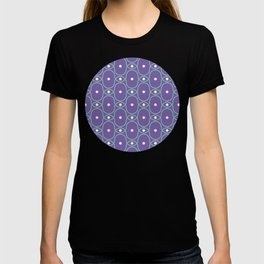 Retro Abstract Pattern in Purple, Green & Cream T-shirt