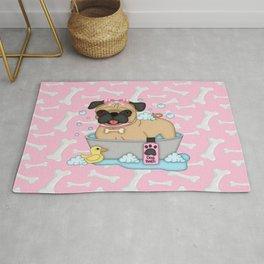 Pug Girl Bath Time Rug