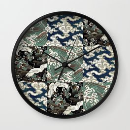 Japanese Print Sea Sky Earth - Teal Wall Clock