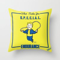 fallout Throw Pillows featuring Endurance S.P.E.C.I.A.L. Fallout 4 by sgrunfo