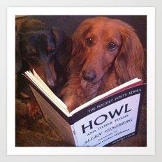 Dachshund reading Howl Art Print