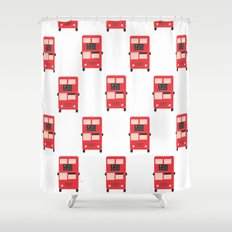Red Double Decker Bus Pattern - London Shower Curtain