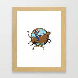 Rodeo Cowboy Bull Riding Lasso Cartoon Framed Art Print