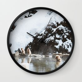 Bath Time in the Hot Springs Wall Clock
