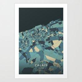 Calais, France - Cream Blue Art Print