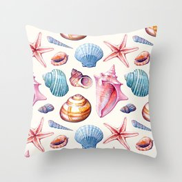 Seashells Pattern 1 - Colorful light Throw Pillow