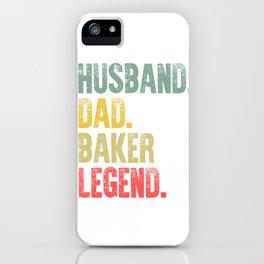 Funny Men Vintage T Shirt Husband Dad Baker Legend Retro iPhone Case