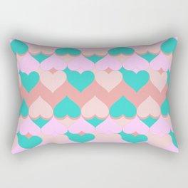 Multi Hearts Pink Teal Dogwood Rectangular Pillow