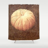 pumpkin Shower Curtains featuring Pumpkin by Yellowstone Photo Studio