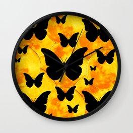 Harvest Gold Moons Black Butterfly Art Wall Clock