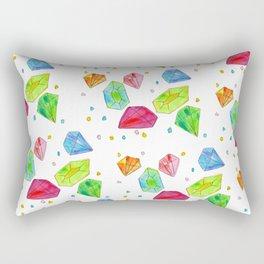 Let Us Shine Like Diamonds fashion, illustration, jewelry, gems, colorful, watercolor, painting Rectangular Pillow