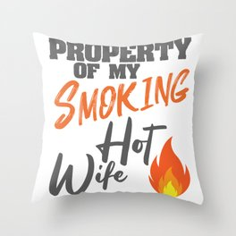 Smoking Hot Wife I Love My Hot Wife Gift Throw Pillow
