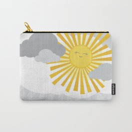 KAWAII SKY - smiling sun in grey clouds - you make me happy Carry-All Pouch