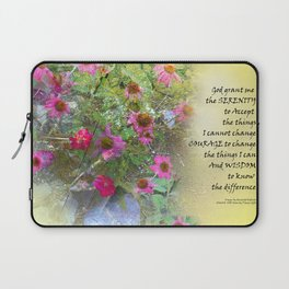 Serenity Prayer Pink Flowers on Yellow Laptop Sleeve