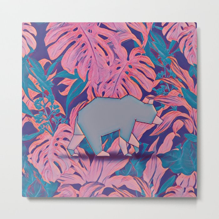 Tropical bear Metal Print
