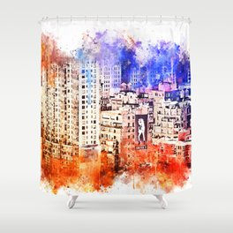 NYC Watercolor Collection - Garment District Shower Curtain