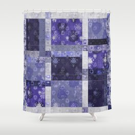Lotus flower blue stitched patchwork - woodblock print style pattern Shower Curtain