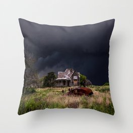 This Old House - Abandoned Home and Cotton Gin in Texas Throw Pillow