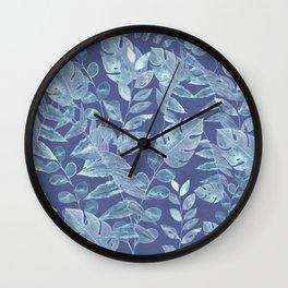 Classic blue botanical tropical pattern Wall Clock