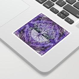 Silver Tree of Life Yggdrasil on Amethyst Geode Sticker
