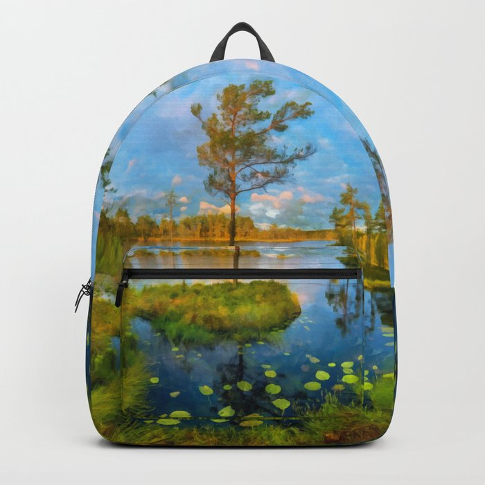 Autumn on the river Backpack
