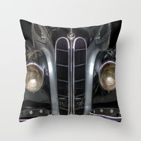 bmw Throw Pillows featuring Old BMW by Cozmic Photos