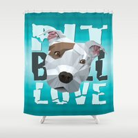 pit bull Shower Curtains featuring Pit Bull by Benjamin Ring