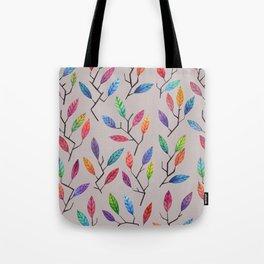 Leafy Twigs - Multicolored on Gray Tote Bag
