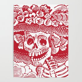 Calavera Catrina   Red and White Poster