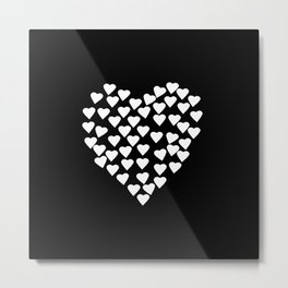 Hearts on Heart White on Black Metal Print