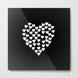 Hearts on Heart White on Black Metal Print